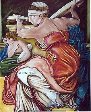 Michelangelo, sistine chapel, wall hanging, figurative art