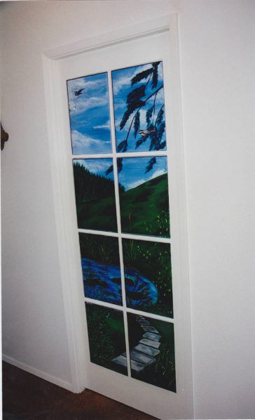 Pacific Northwest, Great Blue Heron, pastoral, blue skies, faux finish