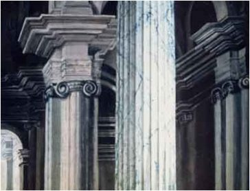 Architectural painting, faux marble, faux painting, faux finish, perspective, columns, cathedral, church interior, vaulted ceiling