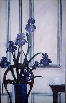 Iris painting, floral art, victorian interior, tea cup, representational art
