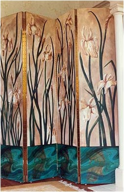 Folding screen, dressing room screen, iris painting, carp painting, asian art, asian painting