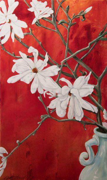 Still life, magnolia, tulip tree, celadon, vase, patina